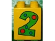 Part No: 31110pb010  Name: Duplo, Brick 2 x 2 x 2 with Number 2 with Polka Dots Pattern