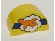 Part No: 31213pb017  Name: Duplo, Brick 2 x 4 x 2 Curved Top with Orange Airplane on White Cloud and Dark Blue Stripe Pattern