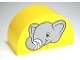 Part No: 31213pb023  Name: Duplo, Brick 2 x 4 x 2 Curved Top with Elephant Head with Bandage Pattern