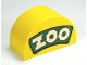 Part No: 31213pb024  Name: Duplo, Brick 2 x 4 x 2 Curved Top with White 'ZOO' on Green Background Pattern