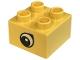 Part No: 3437pb012  Name: Duplo, Brick 2 x 2 with Black and White Teardrop Eye Pattern on Both Sides