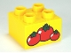 Part No: 3437pb053  Name: Duplo, Brick 2 x 2 with 3 Red Tomatoes Pattern