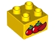 Part No: 3437pb087  Name: Duplo, Brick 2 x 2 with 2 Red Tomatoes and Tomato Slice Pattern