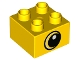 Part No: 3437pb096  Name: Duplo, Brick 2 x 2 with White Spot and Yellow Circled Eye Looking Right Pattern
