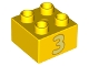 Part No: 3437pb102  Name: Duplo, Brick 2 x 2 with Number 3 Bright Light Yellow Pattern
