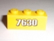 Part No: 3622pb028  Name: Brick 1 x 3 with White '7630' on Yellow Background Pattern (Sticker) - Set 7630