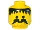 Part No: 3626apb04  Name: Minifigure, Head Moustache, Stubble and Messy Hair Black Pattern - Solid Stud