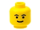 Part No: 3626bp05  Name: Minifigure, Head Standard Grin, Black Eyebrows, Thick Mouth Pattern - Blocked Open Stud