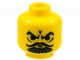 Part No: 3626bpa4  Name: Minifigure, Head Moustache Curly Thin, Goatee, Furrowed Brow Pattern - Blocked Open Stud
