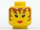 Part No: 3626bpa6  Name: Minifigure, Head Female with Brown Hair, Eyelashes and Red Lips Pattern - Blocked Open Stud