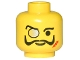 Part No: 3626bpa7  Name: Minifigure, Head Glasses with Monocle, Scar, and Moustache Pattern - Blocked Open Stud