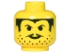 Part No: 3626bpb0012  Name: Minifigure, Head Moustache Thin, Stubble and Sideburns Pattern - Blocked Open Stud