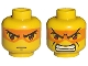 Part No: 3626bpb0015  Name: Minifigure, Head Dual Sided Exo-Force Brown Eyes with Orange Mask, Mouth Closed / Bared Teeth Pattern (Hikaru) - Blocked Open Stud