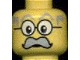 Part No: 3626bpb0030  Name: Minifigure, Head Moustache Large Gray, Gray Eyebrows, and Large Glasses Pattern - Blocked Open Stud