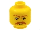 Part No: 3626bpb0041  Name: Minifigure, Head Moustache HP Brown Bushy Moustache and Eyebrows Pattern - Blocked Open Stud
