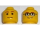 Part No: 3626bpb0044  Name: Minifigure, Head Dual Sided with Glasses / No Glasses Pattern - Blocked Open Stud
