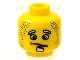 Part No: 3626bpb0049  Name: Minifigure, Head Male Confused Expression, White Goatee Pattern (Henchman 1) - Blocked Open Stud