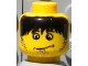 Part No: 3626bpb0052  Name: Minifigure, Head Male Confused Expression, Messy Black Hair Pattern (Henchman 2) - Blocked Open Stud