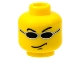 Part No: 3626bpb0053  Name: Minifigure, Head Glasses with Small Black Sunglasses, Smirk Pattern (Snap) - Blocked Open Stud