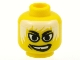 Part No: 3626bpb0055  Name: Minifigure, Head Male White Eyes, White Hair, White Teeth, Grin, Gap Tooth Pattern - Blocked Open Stud