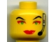 Part No: 3626bpb0056  Name: Minifigure, Head Female with Red Lips, Green Eyes, Red Eye Shadow, Headset Pattern (Cam) - Blocked Open Stud