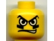 Part No: 3626bpb0163  Name: Minifigure, Head Male White Eyes, Black Eyegrease, Wavy Mouth Pattern - Blocked Open Stud