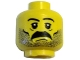 Part No: 3626bpb0172  Name: Minifigure, Head Moustache and Stubble Pattern, White Pupils, Eyebrows - Blocked Open Stud