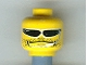 Part No: 3626bpb0228  Name: Minifigure, Head Glasses with Headset, Fine Stubble Pattern (Flex) - Blocked Open Stud