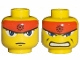 Part No: 3626bpb0254  Name: Minifigure, Head Dual Sided Exo-Force Blue Eyes, Headband, Mouth Closed / Bared Teeth Pattern (Ryo) - Blocked Open Stud