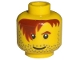 Part No: 3626bpb0266  Name: Minifigure, Head Male Red-Brown Hair over Eye, One Eyebrow, Stubble, White Pupils Pattern - Blocked Open Stud