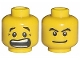 Part No: 3626bpb0272  Name: Minifigure, Head Dual Sided Black Eyebrows, White Pupils, Mouth Open Scared / Mischievous Pattern - Blocked Open Stud