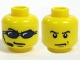 Part No: 3626bpb0299  Name: Minifigure, Head Dual Sided Sunglasses, Headset / Angry Eyebrows and Scowl, White Pupils Pattern - Blocked Open Stud