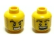 Part No: 3626bpb0356  Name: Minifigure, Head Dual Sided Power Miner Thick Eyebrows and Stubble, Evil Grin / Surprised Pattern - Blocked Open Stud