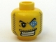 Part No: 3626bpb0362  Name: Minifigure, Head Male Arched Eyebrow, White Teeth, Course Stubble, Jewel over Left Eye Pattern - Blocked Open Stud