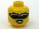 Part No: 3626bpb0365  Name: Minifigure, Head Female with Black Sunglasses and Black Lips Pattern - Blocked Open Stud
