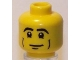 Part No: 3626bpb0426  Name: Minifigure, Head Male Black Eyebrows, Cheek Lines and White Pupils Pattern - Blocked Open Stud