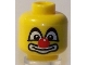 Part No: 3626bpb0437  Name: Minifigure, Head Big Eyes with White Pupils, Red Nose and Large White Mouth Pattern (Clown) - Blocked Open Stud