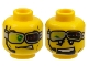 Part No: 3626bpb0448  Name: Minifigure, Head Dual Sided Headset and Green Glasses with Red Bars, Glasses Down / Glasses Up and Mouth Open Pattern - Blocked Open Stud