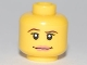 Part No: 3626bpb0457  Name: Minifigure, Head Female with Pink Lips, Thin Brown Eyebrows and White Pupils Pattern - Blocked Open Stud