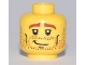 Part No: 3626bpb0458  Name: Minifigure, Head Male Brown Stubble, Brown Eyebrows, Crooked Smile and Cheek Lines Pattern - Blocked Open Stud