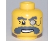 Part No: 3626bpb0460  Name: Minifigure, Head Glasses with Monocle on Chain and Bushy Dark Bluish Gray Eyebrows and Moustache Pattern - Blocked Open Stud
