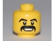 Part No: 3626bpb0465  Name: Minifigure, Head Moustache Black Thick, Grin with Teeth, White Pupils Pattern - Blocked Open Stud