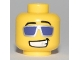 Part No: 3626bpb0467  Name: Minifigure, Head Glasses with Purple Sunglasses with Silver Frames, Grin Pattern - Blocked Open Stud