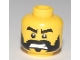 Part No: 3626bpb0470  Name: Minifigure, Head Beard Black with Ragged Edges, Black Eyebrows, Bared Teeth Pattern - Blocked Open Stud