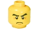 Part No: 3626bpb0503  Name: Minifigure, Head Thick Eyebrows, White Pupils and Crow's Feet Pattern - Blocked Open Stud