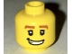 Part No: 3626bpb0510  Name: Minifigure, Head Male Thick Brown Eyebrows, White Pupils and Grin with Teeth Pattern - Blocked Open Stud
