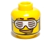 Part No: 3626bpb0512  Name: Minifigure, Head Glasses with Slotted White Sunglasses and Smirk with Gold Teeth Pattern - Blocked Open Stud