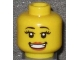 Part No: 3626bpb0520  Name: Minifigure, Head Female with Small Pink Lips, Open Mouth Smile with Teeth, Thick Eyelashes and White Pupils Pattern (Snowboarder) - Blocked Open Stud