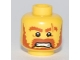 Part No: 3626bpb0539  Name: Minifigure, Head Male Brown Beard, Brown Eyebrows, Scar Across Left Eyebrow, Open Angry Mouth, White Pupils Pattern - Blocked Open Stud