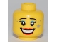 Part No: 3626bpb0544  Name: Minifigure, Head Female with Thin Eyebrows, Eyelashes, Light Blue Mascara, Open Mouth Smile Teeth, Red Lips, Gray Star Pattern - Blocked Open Stud